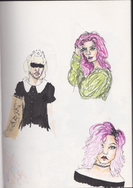 Purple hair and jet black dress
